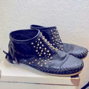 Zara Booties with Fringe, Black Gold Studs sz 8